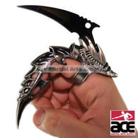 "Iron Reaver Finger Claw. Cast metal w/ riveted joints for finger mobility. 2.75"" Black stainless steel blade."