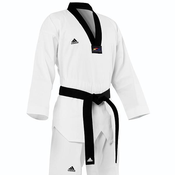 New Adidas Adichamp III Taekwondo uniform White With Black V Neck