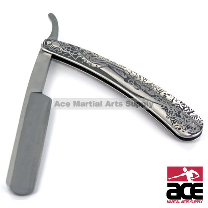 "Acid-etched straight razor w/ Grim Reaper design. Stainless steel. 10"" in total length (7"" handle)"