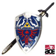 "Legend of Zelda Twilight 46"" Master Sword and Blue Shield Set Ocarina of time"