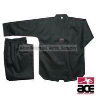 Taekwondo Uniform - Ribbed Fabric, Black