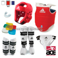 Adidas Complete Taekwondo Sparring Gear Set w/ Shin Instep Guards