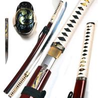 1045 High Carbon Steel Handmade Musashi Tenjo Tenge Katana Sword