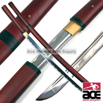 "High quality carbon steel blade. Decorative hamon and bo-hi. Matching wood scabbard and handle with dark red finish. 38.75"" in length."