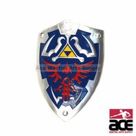 "25"" x 19"". Full size, Hylian shieled replica from Zelda. Resin construction w/ arm strap and handle on reverse side. Includes a chain for wall mounting.  Great for collecting, display, and cosplay."
