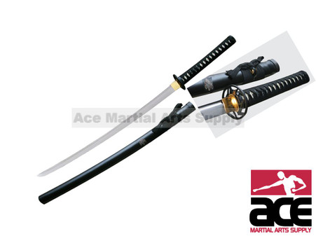 "Handmade katana w/ Paulownia theme. Black steel guard w/ Paulownia blossom design. Wood scabbard w/ black dull finish. Imitation ray skin handle. Sharp. 38.5"" in total length."