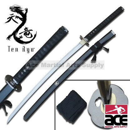 """Hand forged. 41"""" total length. Sharpened carbon steel. Wood scabbard with black finish. Includes black sword bag."""