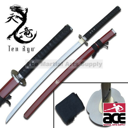 """Hand forged. 41"""" total length. Sharpened carbon steel. Wood scabbard with red finish. Includes black sword bag."""