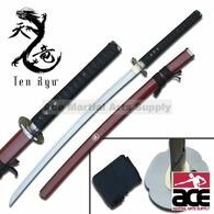"Hand forged. 41"" total length. Sharpened carbon steel. Wood scabbard with red finish. Includes black sword bag."