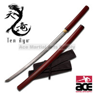"41"" total length. Wood scabbard and handle with burgundy finish. Includes sword bag."