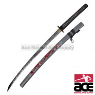 Zombie-themed katana w/ high quality carbon steel blade. Real ray skin handle wrapped in a comfortable cord grip.  Biohazard symbol guard. Decorative scabbard.