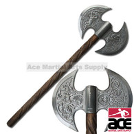 Medieval Battle Axe W/ Wood Handle