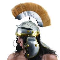 Handcrafted Roman Centurion Officer Helmet with Yellow Plume Armor SCA Brand New
