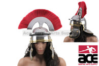 ADULT SIZE Imperial Roman Helmet W/brass Accents and Red Plume - Steel