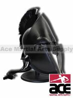 Spartan Greek Black Steel Helmet W/ Plum Costume Armor with Stand Brand New