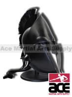 Spartan Greek Black Steel Helmet W/ Plum Costume Armor with Stand Brand New