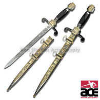 18 1/2 Inch Overall Historical Short Sword With Scabbard