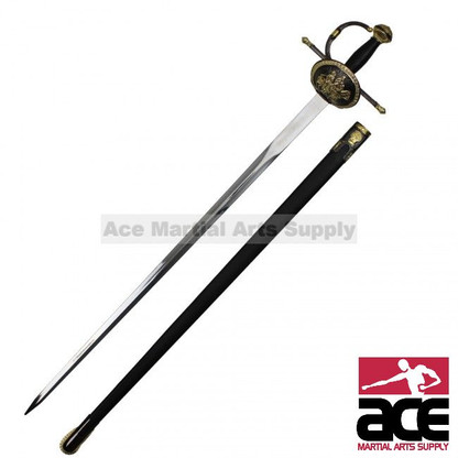 "Don Quixote themed Rapier. 41"" Total length. 440 Stainless steel blade. Black metal handle with gold trim. Scabbard is covered in black leather"
