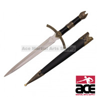 "14"" Medieval Dagger With Golden Handle Design and Black Scabbard"