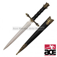 "14"" Medieval Dagger With Golden Handle Crown Design At the Top And Black Scabbard With Gold Angel Engraved"