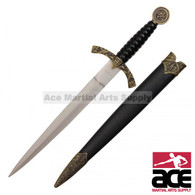 "14"" Medieval Designed Dagger With Knight And Horse On Handle And Black Scabbard With Dusty Gold Finish"