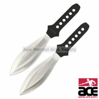 "2 Piece 8.5"" Two Toned Silver Wings Throwing Knives With Case"