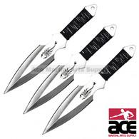 "6.5"" 3pcs silver throwing knife"