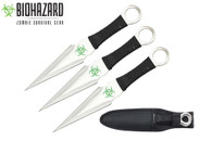 "3PC 9"" ZOMBIE Survival Ninja Naruto Kunai Throwing Knives w/ Sheath Combat"
