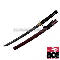 "Set includes 1 katana and 1 wakizashi. 1065 high carbon steel blades. Wood sayas with dark red finish. Wood core handle w/ rayskin. 40"" & 29"" in length."