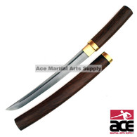 "High carbon steel blade with a Damascus design. Hardwood handle and scabbard, Includes display box. 21"" Total length."
