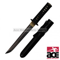 """17"""" Total length. Damascus Steel blade. Wood core w/ real rayskin. Black wood scabbard. Steel guard. Includes wood display box and bag."""
