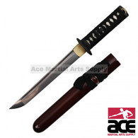 "17"" Total length. Damascus Steel blade. Wood core handle w/ real rayskin. Sharp. Steel guard w/ dragon design. Hardwood scabbard w/ red finish."