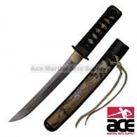 """High Carbon Steel blade. Sharpened. 16.5"""" Total length. Black peel wood scabbard w/ white tiger painting. Wood core handle with imitation shark skin."""
