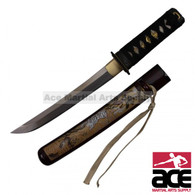 """High Carbon Steel blade. Sharpened. 16.5"""" Total length. Red peel wood scabbard w/ white tiger painting. Wood core handle with imitation shark skin."""
