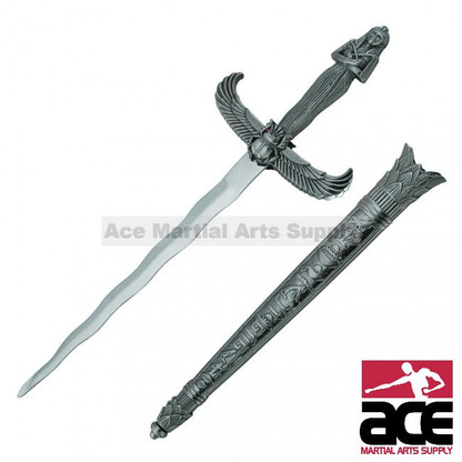 "Egyptian fantasy dagger. Stainless steel. Winged crossguard. Decorative sarcophagus handle and pommel. Scabbard features hieroglyphic design pattern. 14"" Overall length. Slightly sharpened"