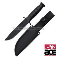 "10.25"" Tanto Blade All Black Hunting Knife (Black)"