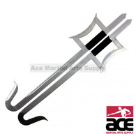 Kung Fu Wu Shu Kabal Silver Steel Hook Swords Set