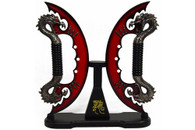 "9"" Red Fire Blade Dual Fantasy Dragon Sword Daggers Knife With Stand Brand New"