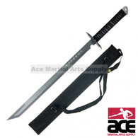 "Full tang Ninja blade. 440 Stainless steel. 28"" total length. Sharpened. Black cord wrapped handle. Cut-out design guard. Protective black nylon sheath with shoulder strap"