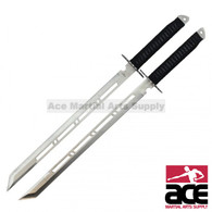 "28"" Full Tang Silver Double Ninja Combat Sword With Sheath"