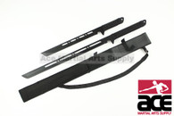 Dual Full Tang Ninja Warrior Double Swords With Strap Black