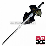 Fantasy Sword with Horn and Wooden Plaque 50""