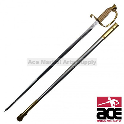 """Replica U.S. Navy Officer saber. Stainless steel blade. Slightly sharpened. 35"""" Total length. Gold colored handle. Gold colored scabbard throat and tip Acid etching on blade. Handle features a detailed replica design of a traditional cermonial Navy Officer sword"""
