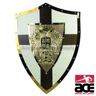 """24"""" Medieval Knight Shield Brass and Steel All Metal Cross Brand New"""