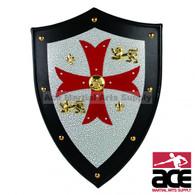 Knight Templar Royal Crusader Shield Red Cross With Grid