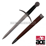 "18"" Handmade Medieval Dagger With Brown Scabbard"