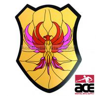 Medieval Golden Firebird Wooden Shield Buckler with Handle