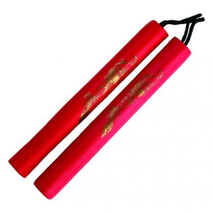 Nunchucks with Padded Foam Handles Nunchuck w// Nylon Cord Red