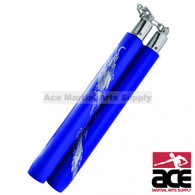 """12"""" Deluxe Foam Nunchaku With Gold Dragon Print And Chain Link (Blue)"""