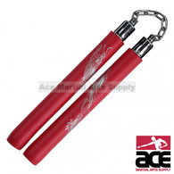 """12"""" Deluxe Foam Nunchaku With Gold Dragon Print And Chain Link (Red)"""